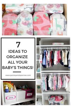 Trying to organize all your baby's stuff - clothes, burp clothes, shoes? This post has great ideas for how to organize the closet in your baby's room! Includes ideas for large and small closets - something for everyone! Baby Dresser Organization, Small Closet Organization, Clothing Organization, Organization Ideas, Bedroom Organization, Organizing Tips, Baby Nursery Diy, Nursery Ideas, Baby Bedroom