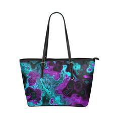 awesome fractal 34 Leather Tote Bag/Small (Model 1651)