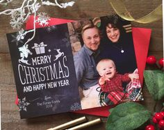 Christmas Card/ Chalkboard/ Merry Christmas and Happy New Year/ Art Paper Scissors Glue