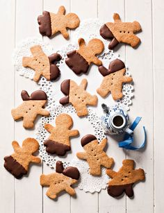 Chocolate dipped gingerbread men cookies