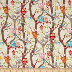 Riley Blake Tree Party Main Cream from @fabricdotcom  Designed by Kelly Panacci for Riley Blake, this cotton print is perfect for quilting, apparel and home decor accents. Look closely and you can find an owl, squirrel, mouse, bird nest, swing and a birdhouse. Colors include brown, cream, hot pink, pink, orange, blue, grey, green and yellow.