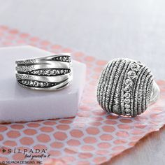 Pictured left to right:  Organics Ring $79 In the Groove Ring $89  www.mysilpada.com/lori.dernehl