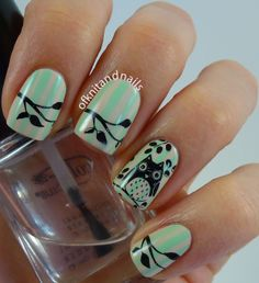 Owl stamping nail art.  MASH & Pueen plates.  Mint green stripes.