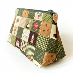 Country Cottage Cosmetic Bag in Rustic Patchwork Squares £13.00