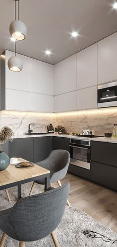 trendy home desng modern interior Apartment Kitchen, Home Decor Kitchen, Bedroom Apartment, Luxury Kitchen Design, Minimalist Kitchen, Kitchen Modern, Kitchen White, Grey Kitchens, Design Studio