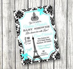 Tiffany Blue Paris Baby Shower Invitation Paper by PinkPopRoxx