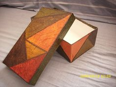 Geometric Art, Cube, Decoupage, Inspiration, Painted Mailboxes, Wooden Chest, Wood Paintings, Scrappy Quilts, Craft