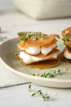 Appetizer: Filo leaves filled with ricotta and honey by Tal Sivan Ziporin for cafe-veyafe.com