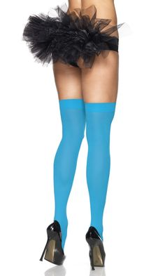 Neon Blue Thigh High Stockings Christian Sutter (thumbs up to this) Blue  Stockings 739bfa9b944