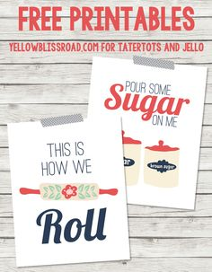 Free Kitchen Printables -- Tatertots and Jello