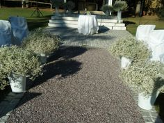 Baby's breath arrangements down the aisle. Shabby Chic Wedding Decor, Greece Wedding, Baby's Breath, Thessaloniki, Party Accessories, Countryside, Wedding Bouquets, Wedding Decorations, Weddings