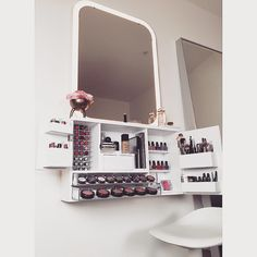 wall mounted vanity, makeup organizer, bleach LA Furnishings http://www.bleachla.etsy.com A great addition to sort your beauty products & accessories. The perfect item for minimalists. Decor, beauty storage, makeup storage, nail polish storage.