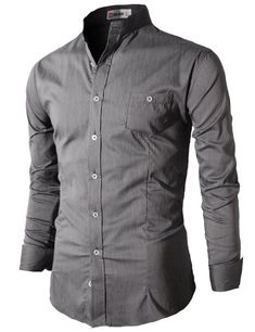 Mandarin collar - love it!  Amazon.com: H2H Men's Slim Fit Shirt with China Collar Long Sleeves: Clothing
