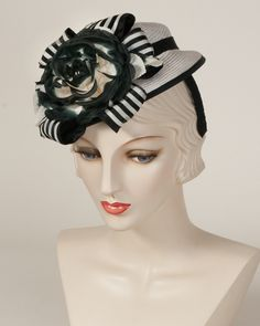 9368DHPS Doll Hat, white with black  – Louise Green Millinery