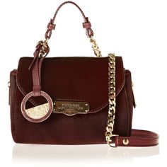 Versace Collection Calf hair and leather shoulder bag ($638) ❤ liked on Polyvore featuring bags, handbags, shoulder bags, burgundy, top handle handbags, leather handbags, burgundy handbag, burgundy leather handbag and versace handbags