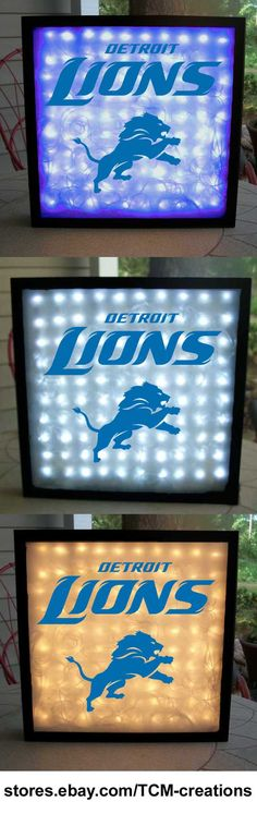 NFL National Football League Detroit Lions shadow boxes with LED lighting & multiple colored vinyl decals