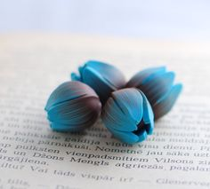 Handmade polymer clay beads - turquoise blue and chocolate brown flower tulips by ekkaBoutique