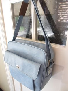 Vintage Blue Faux Leather Carry On Luggage by MemphisNanney on Etsy