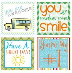 Lunch Box Love Notes - Free Printable