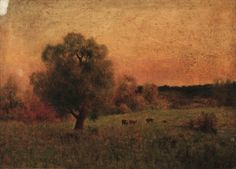 Cows in a Field, imitator of George Inness