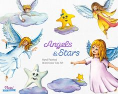 Angels Clipart, Stars Clipart, Christmas Watercolor Hand Painted Clipart, Xmas Decoration, Cute Holiday Clipart, Clouds, Wings, Scrapbooking