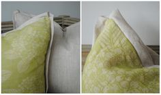 Tone on Tone: Summer Pillows {contrast flange with pleated corners}