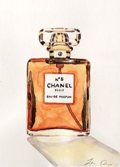 Chanel No. 5 Perfume Bottle - ORIGINAL Watercolor 5 x 7 - Coco Chanel Paris Classic Fragrance Marilyn Monroe Audrey Tatou Crystal Bottle