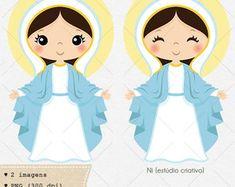 Kit digital Nossa Senhora das Graças | C016-09 Samara, Cute Images, Silhouette Projects, Doll Patterns, Communion, Quilling, Satin, Crafts, Painting