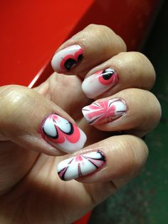 Pink flower water marble nails