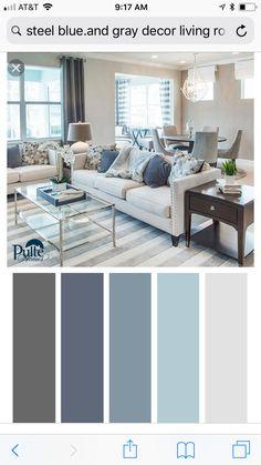 Paleta de colores grises y azules Living Room Color Schemes, Paint Colors For Living Room, Paint Colors For Home, Bedroom Colors, House Colors, Living Room Designs, Home Living Room, Living Room Decor, Dining Room
