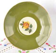 Green Elizabethan majestic cup and saucer hand by VieuxCharmes