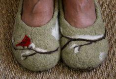 Needle felting on felted slippers. Inspiration.