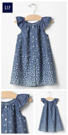 1969 starry chambray flutter dress
