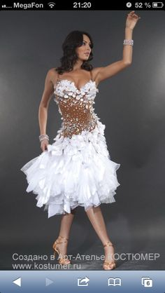 White dress perfect for Samba / Latin competition dress
