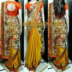 SDS-DS6 FABRICS: Georgette, chiffon and rawsilk. Customized golden yellow and orange floral combination half and half saree with a simple rawsilk blouse for a dear customer. To place an order plz inbox us or mail us at siridesignerstudio@gmail.com Thank you.