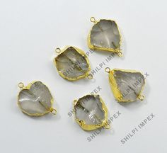 Free Shipping 5Pc Natural Rose Quartz Brass Wholesale Lot Fashion Jewelry Charms