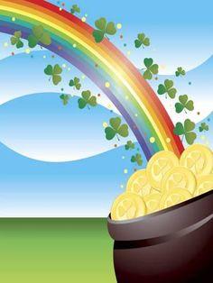 size: Photo: Shamrocks on Rainbow Leading to Pot of Gold : Entertainment Saint Patricks Day Art, St Patricks Day Quotes, St Patricks Day Wallpaper, St Patrick's Day Crafts, Kids Crafts, Mandala Painted Rocks, Photo Frame Design, Rainbow Painting, St Paddys Day