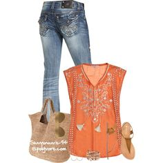 A fashion look from August 2014 featuring Calypso St. Barth tops, Miss Me jeans and Restricted sandals. Browse and shop related looks.