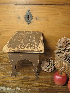 Sweet Small Wooden Primitive Foot Stool ~ Old Brown Paint   $68
