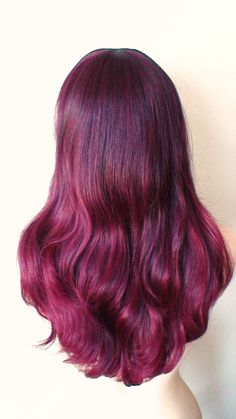 Ombre wig. Wine red wig. Long wavy hairstyle with by kekeshop