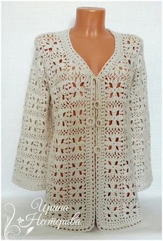 Crochet Cardigan Sweater Pattern made from two hexagons - free pattern! Zig Zag Crochet, Crochet Jacket Pattern, Crochet Coat, Crochet Blouse, Crochet Clothes, Crochet Lace, Colette Patterns, Vintage Crochet Patterns, Clothing Patterns
