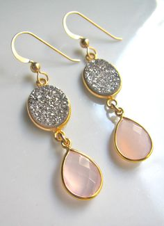 Druzy and Pink Chalcedony Earrings