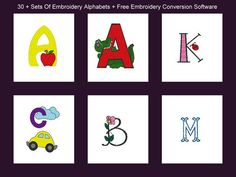 Machine Embroidery Designs 30 Alphabet Fonts Free Conversion Software   eBay
