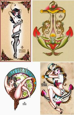 I do love old time looking flash, that is what got me to draw little mermaids and pin ups in the first place. Sailor Jerry is a big in...