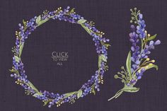 Watercolor set with Lavender Flowers - Illustrations - 3
