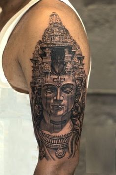 Temple of Lord Shiva Tattoo by Sunny Bhanushali at Aliens Tattoo India. Client traveled interstate to get this tattoo from our us. He was amazed by. Hindu Tattoos, God Tattoos, Buddha Tattoos, Religious Tattoos, Lord Shiva, Spiritual Tattoo, Krishna Tattoo, Mahadev Tattoo, Trishul Tattoo Designs
