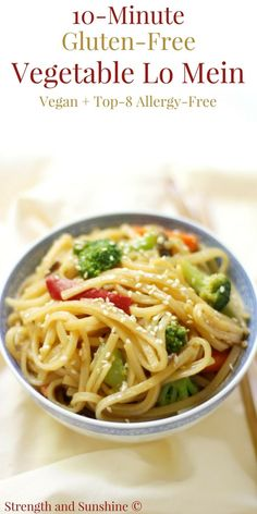 10-Minute Gluten-Free Vegetable Lo Mein (Vegan, Allergy-Free) | Strength and Sunshine @RebeccaGF666 You can have this side dish on the table in 10 minutes! A quick & easy 10-Minute Gluten-Free Vegetable Lo Mein recipe that's better than Chinese take-out, is vegan, and top-8 allergy-free! Great for dinner and perfect for using as healthy leftover lunches! #lomein #glutenfree #vegan #noodles #chinesefood #takeout