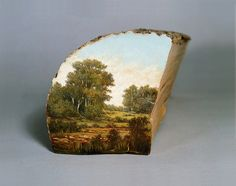 Landscapes Painted on the Surfaces of Cut Logs by Alison Moritsugu | Colossal