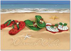 christmas flip flops on the beach