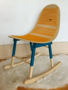 The Charlie Childrens molded ply rocking chair by HandmadeRiot on Etsy